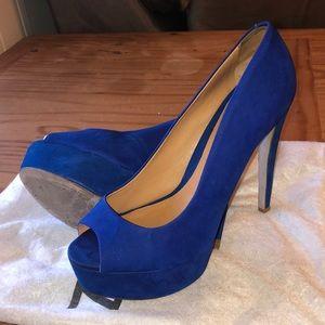 Schutz Electric Blue Peep-toe Stilettos